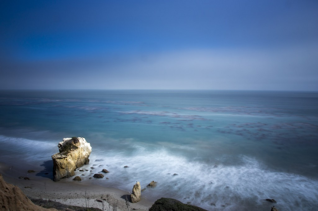 Long exposure photo of El Matador beach in Malibu, CA
